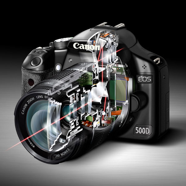 EOS 500D see-through