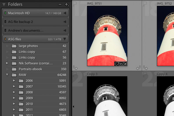 Organising photo files in Lightroom